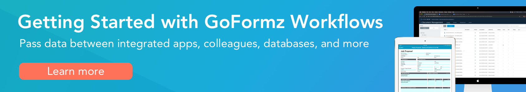 Banner text: Getting started with GoFormz workflows, click here to learn more
