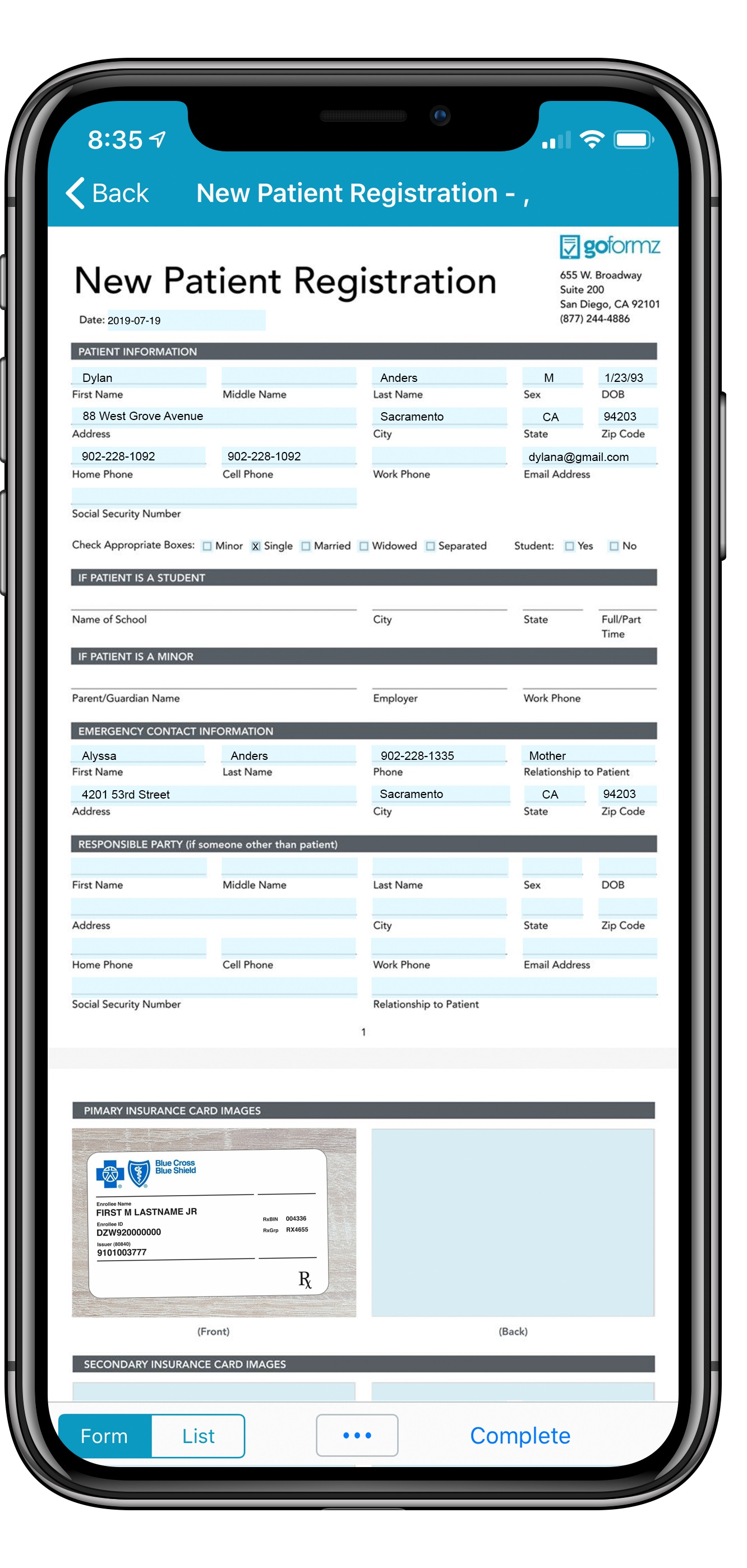 patient registration mobile form on iphone x showing data input into fields and insurance card image
