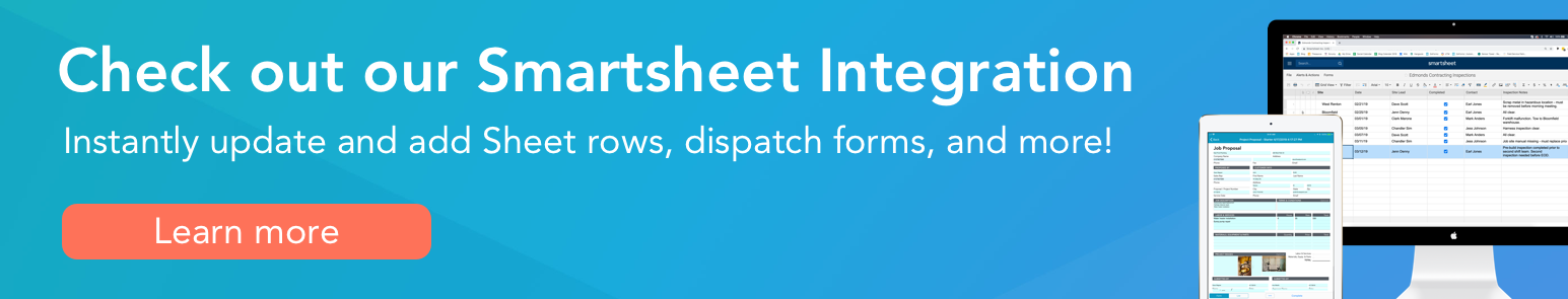 Banner text: Check out our smartsheet integration