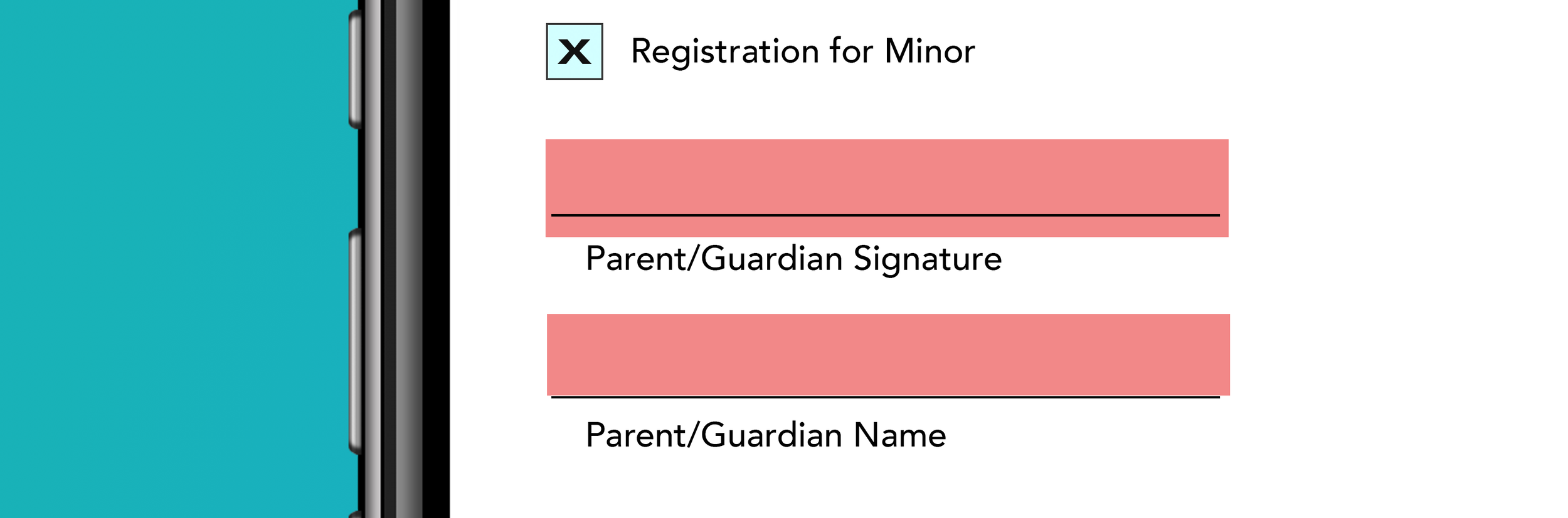 Using DFPs form fields can be made required in response to entered data. Here we see an example of an event registration form being filled out on an iPhone, and parent/guardian fields being made Required in response to a checkbox selection noting the registrant is a minor.
