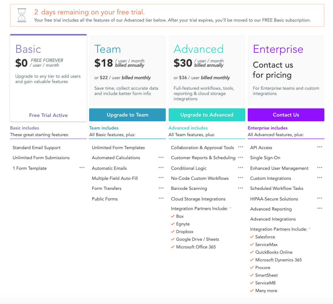 GoFormz mobile forms pricing