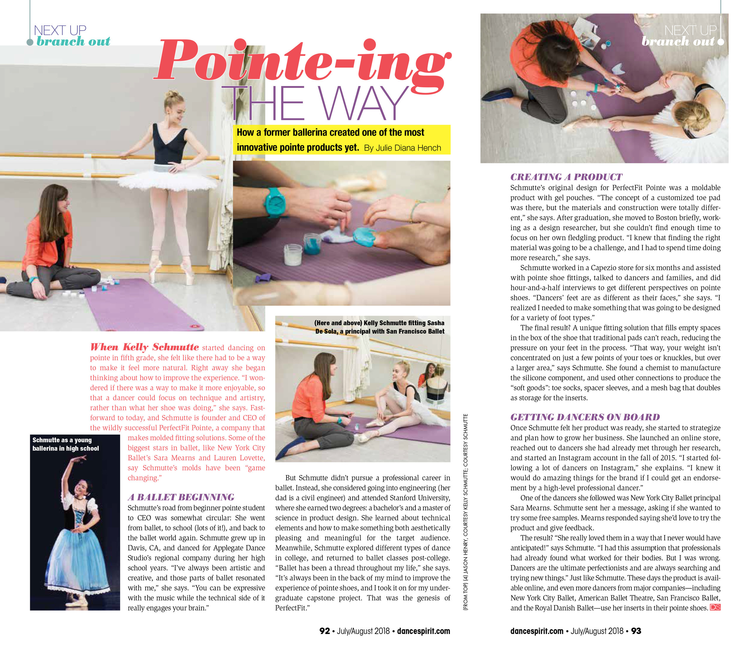 "Dance Spirt Magazine , July/August 2018,  ""Pointe-ing the Way"""