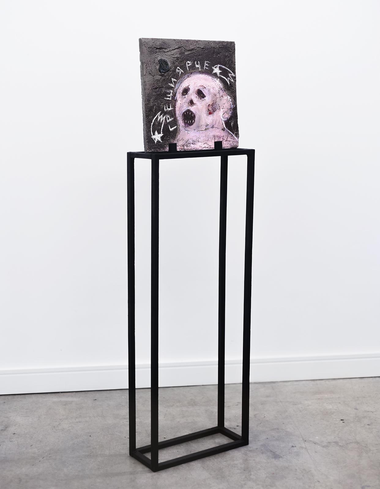 Greshy yarche (Sin brighter) , 34 x 34cm, quartz geode, acrylic, spray paint and oil pastel on concrete panel, 2018
