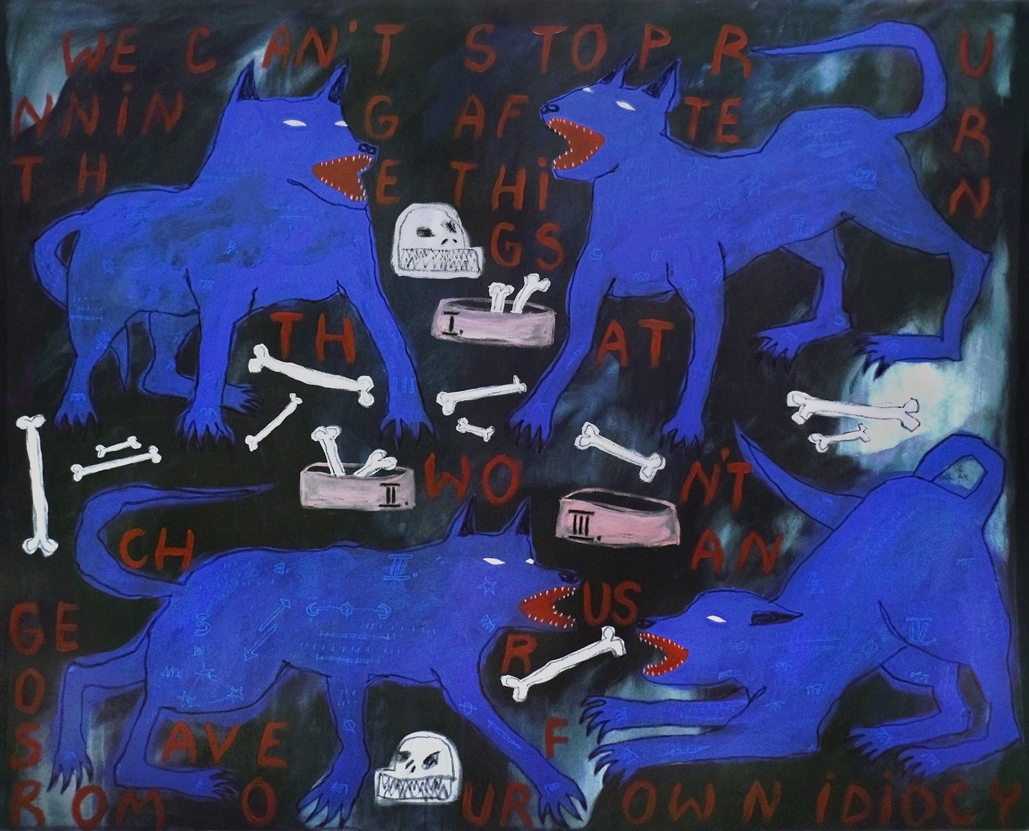 The blind quartet , 148x183cm, acrylic and oil pastel on canvas