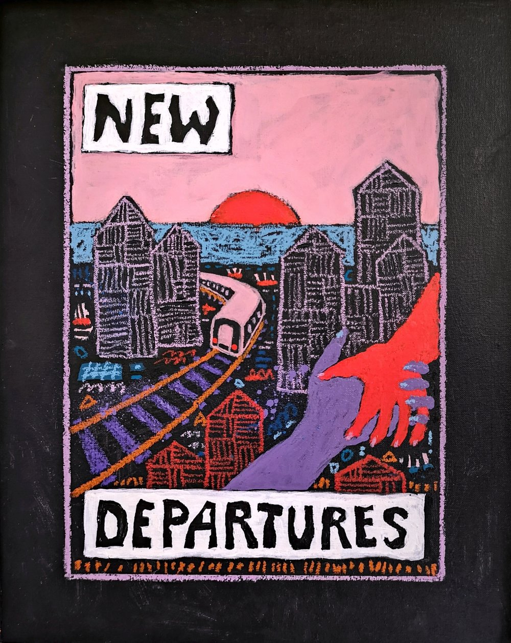 New departures , A3, Acrylic, spray paint and oil pastels on canvas board