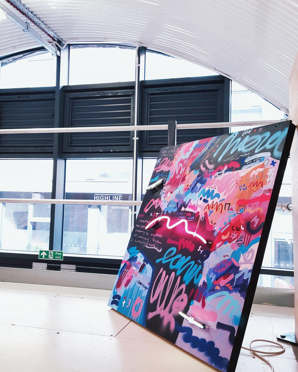 Vertigo , 100x100cm, acrylic, spray paint, oil pastel and neon on board