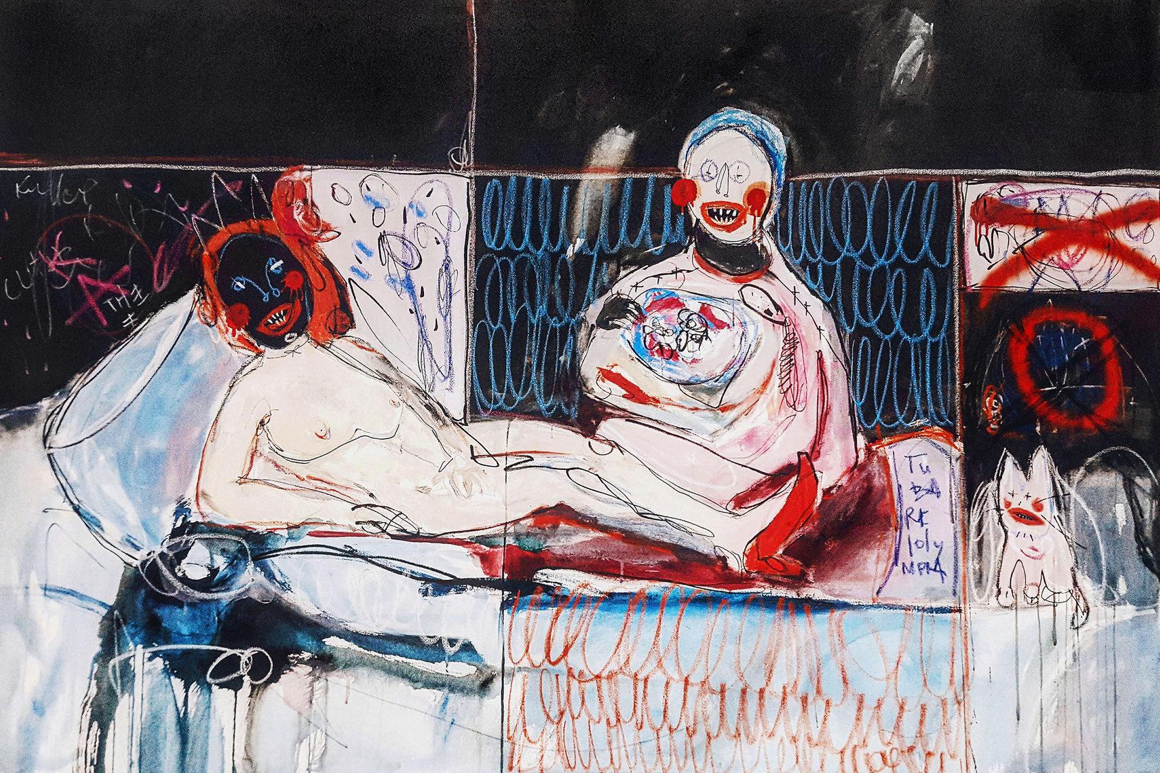 Lola , 100x150cm, acrylic, spray paint, marker and oil pastel on canvas