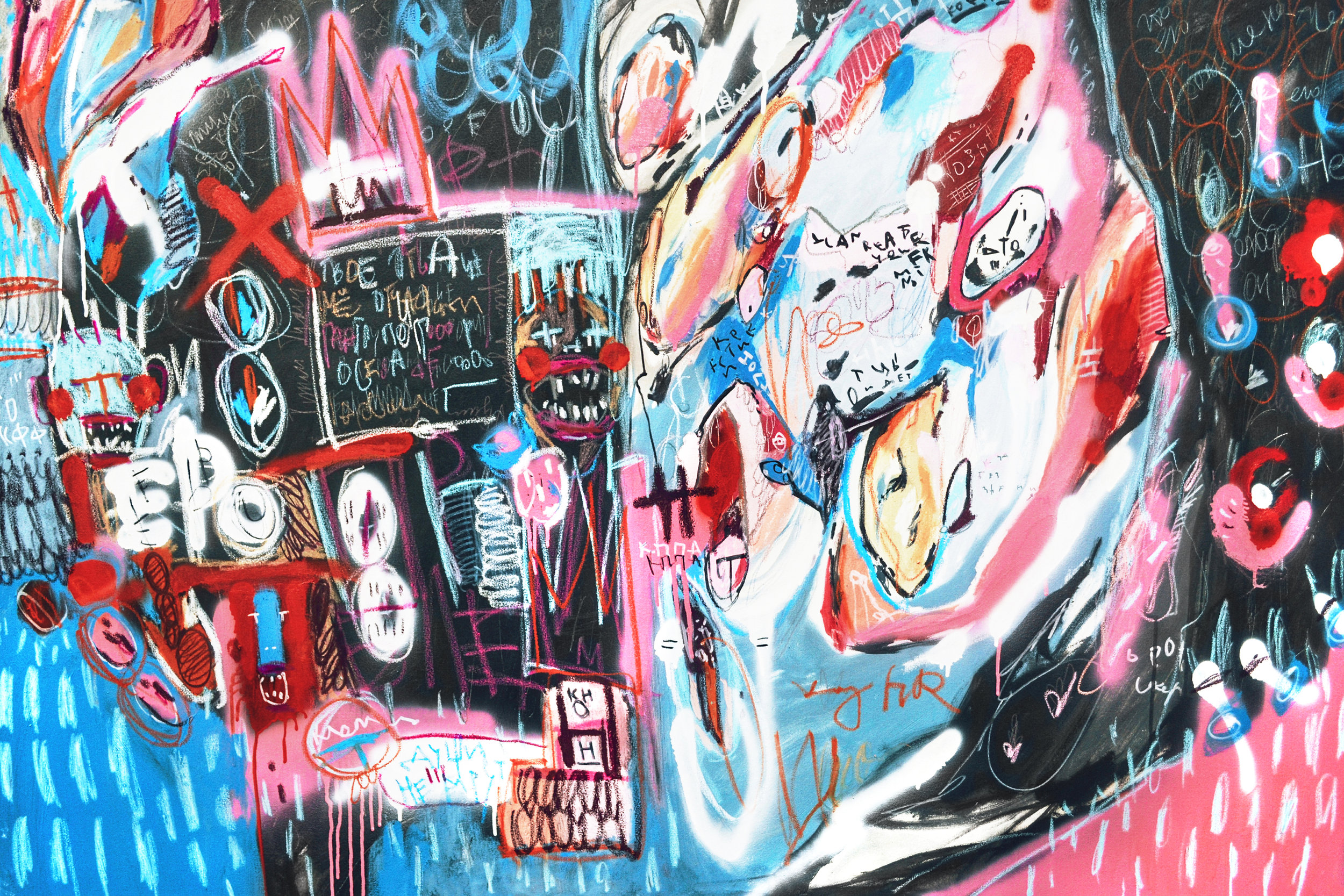 My future my past , 100x150cm, acrylic, spray paint, marker and oil pastel on canvas