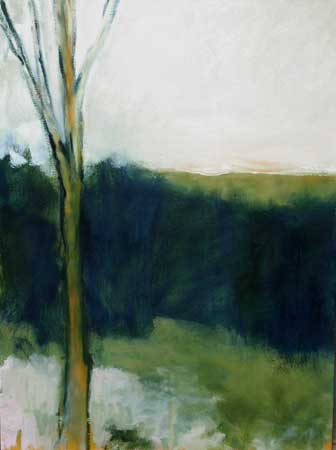 "Winter Trees with Moss 3 , Heather Pilchard, oil on board, 32"" x 24"", $1,800"