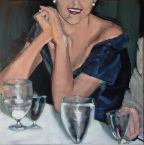 """Dinner Party II , oil on canvas, 24"""" x 24"""", $1,850"""