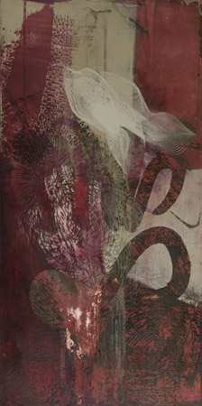 "Untitled 0943,  screen print, oil, wax on panel, 24"" x 12"""
