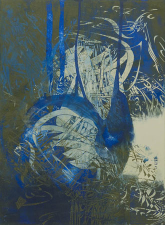 """Untitled 0940,  screen print, oil, wax on panel, 15"""" x 11"""",  sold"""
