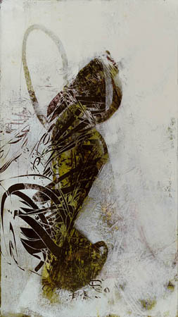 """Untitled 0913,  screen print, oil, wax, 19¾"""" x 11"""",  $800"""