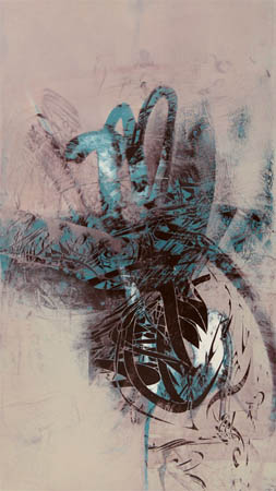 "Untitled 0911, s  creen print, oil, wax on panel, 19¾"" x 11"",  $800"