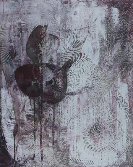 """Untitled 1431,  screen print, oil, wax on panel, 20"""" x 16"""" x 1½"""",  $900"""