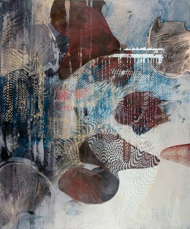 "Untitled 1407 ,  screen print, oil, wax on panel, 24"" x 20"",  $1,400"