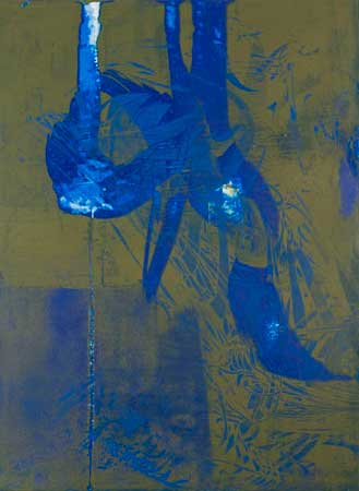 """Untitled 0941,  screen print, oil, wax on panel, 15"""" x 11"""",  sold"""