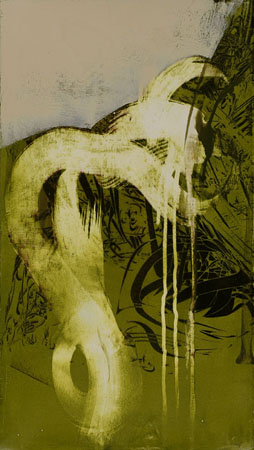 "Untitled 0909,  screen print, oil, wax on canvas, 19¾"" x 11"",  $800"
