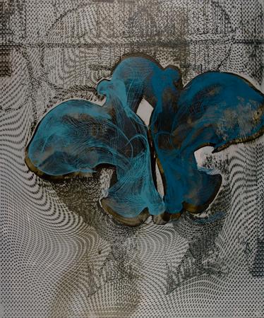 "Untitled 1409,  screen print, oil, wax on panel, 24"" x 20"",  $1,400"