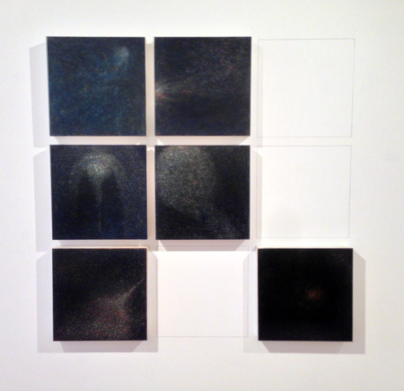 """Comet in the Night , Xiaowei Chen, color pencil, ink, oil and paper on wood, 12"""" x 12"""" each, $4,000 for 3,$12,000 for 9"""
