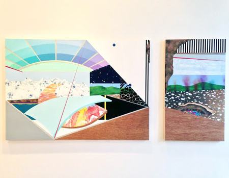 Unsparing Change , Lindsey Kocur, triptych: acrylic, acryla gouache, latex, spraypaint, ink, wood laminate, acetate and glitter on wood panel. backdrop: latex, spraypaint, paper and wood on masonite, 7' x 9', $650-$1,500 for individual panels, $3,650 for whole piece with background