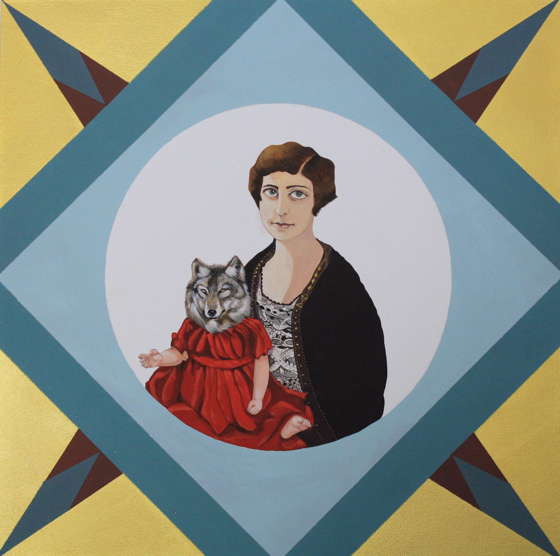 """Wolf Mother , acryla gouache, acrylic on wood, 18"""" x 18"""", $1,000"""