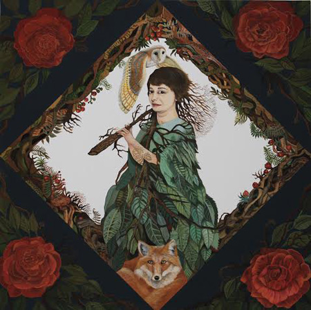 """Untitled (Tree Eater) , acryla gouache, acrylic on wood, 18"""" x 18"""", $1,200"""