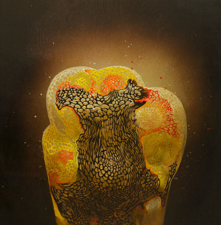 "Golden Sac No. 2 ,  acrylic on panel, 12"" x 12"" ,  sold"