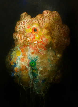 "Tunicate and Golden Sac,   acrylic on panel, 48"" x 36"" ,  $5,200"