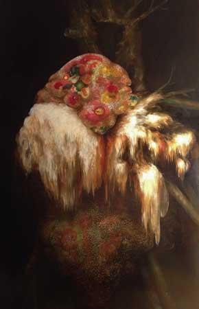 "Bearded Tooth and Golden Sac,  acrylic on panel, 48"" x 30"" , $5,800"
