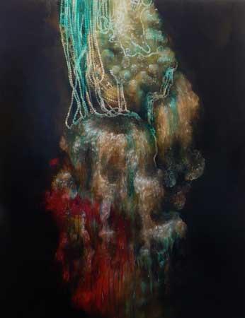 """Turquoise Fleece Wash,  acrylic on panel, 48"""" x 37½"""" , sold"""