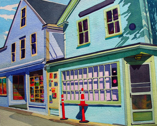 """Grocery and Gallery, Provincetown ,   watercolor on paper, 20 3/4"""" x 24 3/4"""" framed, $1,800"""