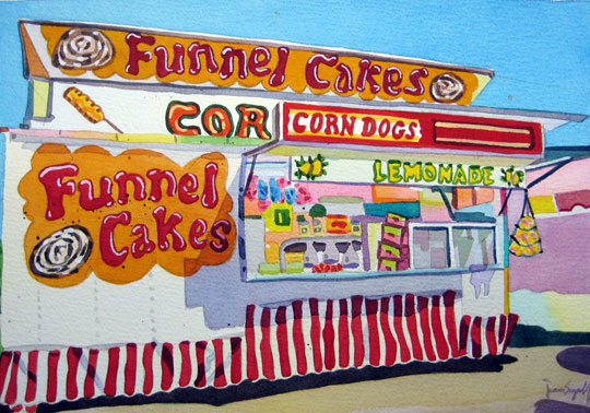 """Funnel Cakes,  watercolor on paper, 27"""" x 34"""" framed"""