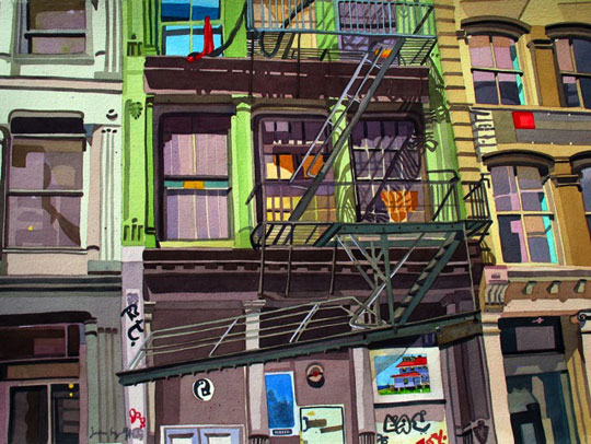 """Soho,  watercolor on paper, 22"""" x 30"""",  sold"""