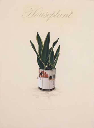 """Houseplant (Informal Domesticity),  oil on paper with inkjet transferred text, 26½"""" x 20"""" framed,  $2,000"""