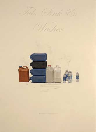 """Tub, Sink and Washer (Informal Domesticity),  oil on paper with inkjet transferred text, 26½"""" x 20"""" framed,  $2,000"""