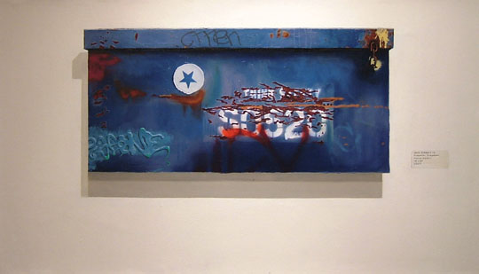 """Urban Object #2,  oil on paper mounted to canvas, 18"""" x 31"""",  $1,500"""