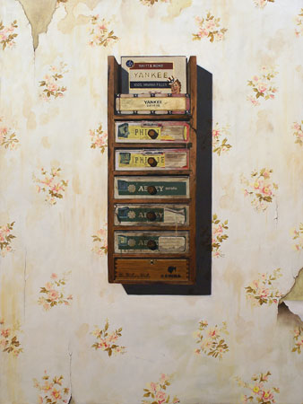 """Yankee Supreme,  oil and gold leaf on birch panel, 48"""" x 36"""",  $5,000"""