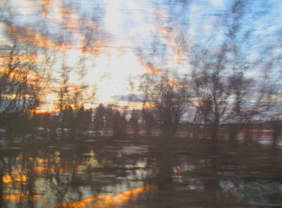 """Train View 3, between NY and Baltimore,  archival photograph on washi paper, 16"""" x 20"""",  $200"""