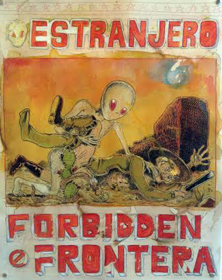 "Estranjero Forbidden Frontera , Raúl Gonzalez III, ink, acrylic, colored pencil, coffee stained paper, 17½"" x 14"", $1,500"