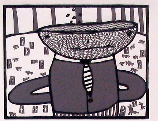 "Cupman in Landscape,   linoleum print on paper, 10"" x 12"""