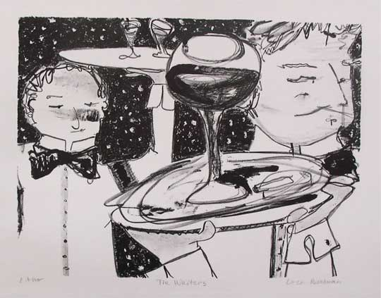 "The Waiters,   lithograph, 18¼"" x 20¼"" framed ,  $250"