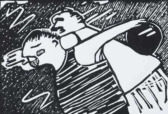 "Bowling Buddies,   reduction linoleum print on paper, 8"" x 10"""