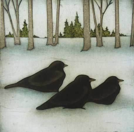 """Three Crows, collagraph on paper, 21½"""" x 20½"""" framed, $425"""
