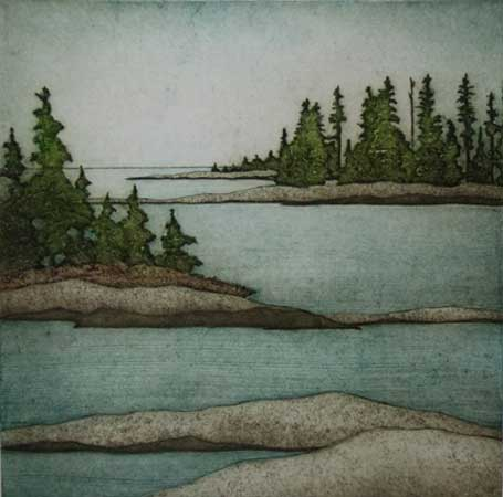 """Little Coves, Port Clyde, collagraph on paper, 17½"""" x 15"""", $300"""