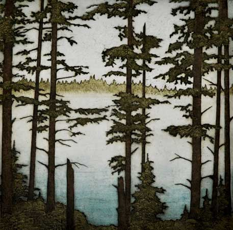 """Tall Spruce, Morning Fog, collagraph on paper, 28 1/2"""" x 27 1/2"""" framed"""