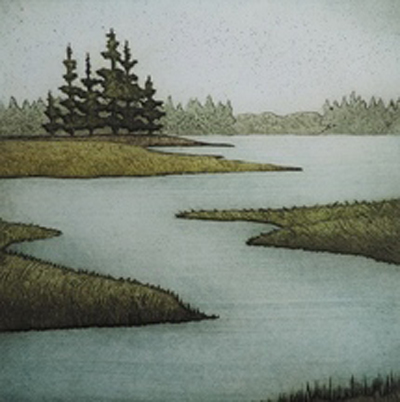 "Autumn Marsh, collagraph on paper, 16½"" x 15½"""