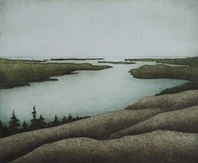 """Long View, Somes Sound (4/30), collagraph on paper, 32"""" x 34"""" framed"""