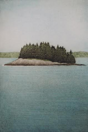 """Little Island (20/30), collagraph on paper, 21"""" x 16¼"""""""