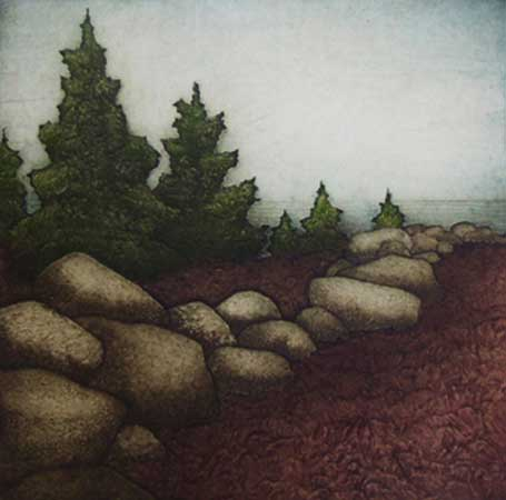 """Rockport Boundary, collagraph on paper, 21¼"""" x 20¼"""""""